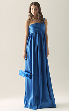 Empire One Shoulder Floor-length Charmeuse Bridesmaid/ Wedding Party Dress