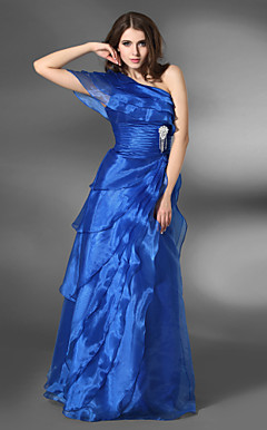 A-line One Shoulder Floor-length Organza Elastic Satin Evening Dress
