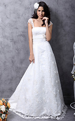 Princess A-Line Court Train Satin Lace Wedding Dress