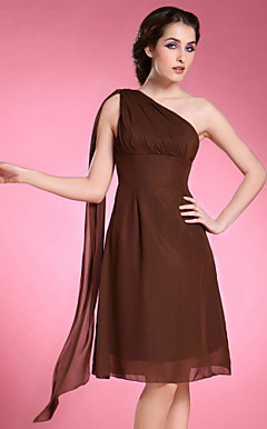 A-line One Shoulder Sleeveless Knee-length Chiffon Mother of the Bride Dress