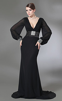 Trumpet/Mermaid V-neck Sweep Train Chiffon And Stretch Satin Evening Dress