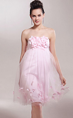Empire Strapless Knee-length Tulle Over Satin Bridesmaid/ Wedding Party Dress