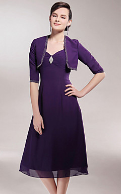 A-line V-neck Tea-length Chiffon Mother of the Bride Dress With A Wrap
