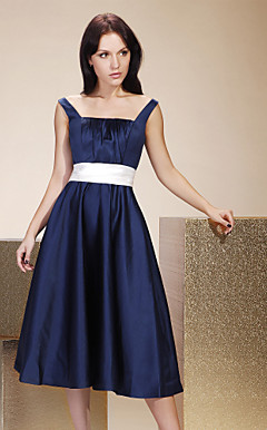 A-line Straps Tea-length Satin Bridesmaid/ Wedding Party Dress