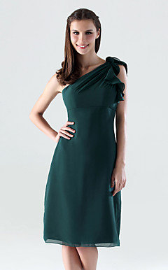 Sheath/Column One Shoulder Knee-length Chiffon Bridesmaid/Wedding Party Dress