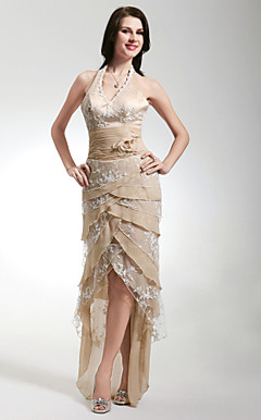 Sheath/ Column Halter Asymmetrical Stretch Satin Lace Evening Dress
