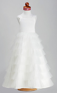 A-line Princess Straps Square Ankle-length Satin Tulle Flower Girl Dress