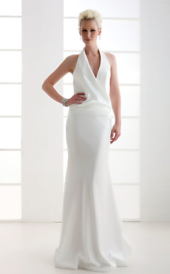 Sheath/Column Halter Floor-length Elastic Woven Satin Wedding Dress