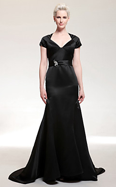 Satin Trumpet/Mermaid V-neck Court Train Evening Dress inspired by Eva Longoria at Golden Globe Award