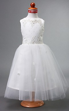 A-line Bateau Ankle-length Satin Flower Girl Dress