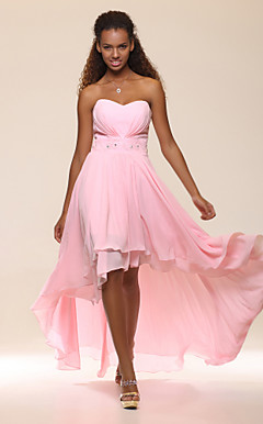 High Low Sweetheart Chiffon Evening Dress With Beadings