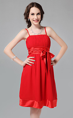 A-line Spaghetti Straps Knee-length Chiffon Bridesmaid Dress