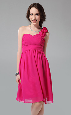 A-line One Shoulder Sweetheart Knee-length Chiffon Bridesmaid Dress