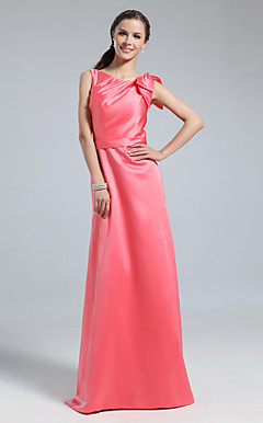 Sheath/Column Bateau Floor-length Satin Bridesmaid Dress