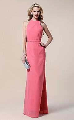 Chiffon Sheath/Column Halter Floor-length Evening Dress inspired by Claire Danes at Golden Globe Award