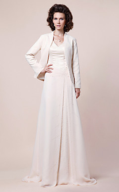 A-line V-neck Sweep/Brush Train Chiffon Mother of the Bride Dress With A Wrap