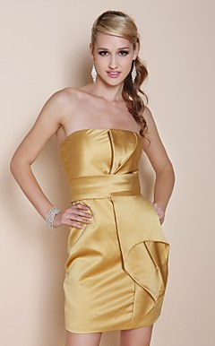 Satin Sheath/ Column Strapless Short/ Mini Cocktail Dress inspired by Anne Hathaway