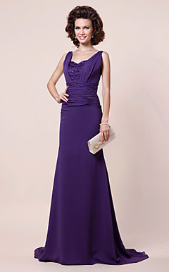 A-line Straps Sweep/ Brush Train Chiffon Evening Dress