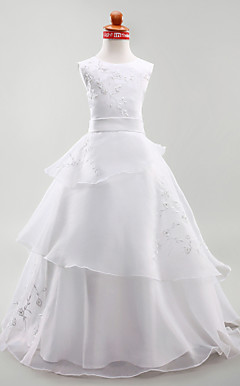 A-line Jewel Floor-length Satin Organza Flower Girl Dress