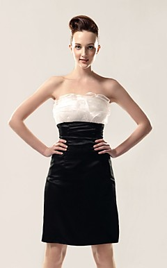 Sheath/ Column Strapless Knee-length Organza And Stretch Satin Cocktail Dress