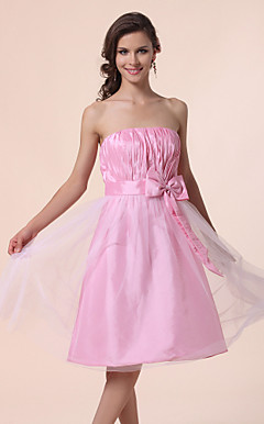 A-line Strapless Knee-length Taffeta Tulle Bridesmaid Dress