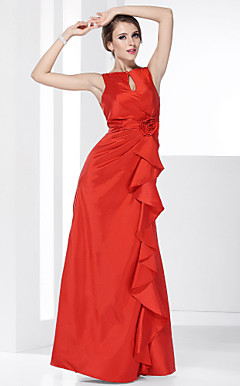 A-line Bateau Floor-length Taffeta Evening Dress