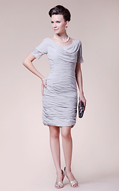Sheath/ Column Cowl Short Sleeve Knee-length Chiffon Mother of the Bride Dress