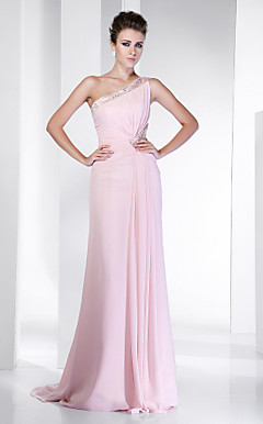 Sheath/Column One Shoulder Sweep/Brush Train Chiffon Evening Dress inspired by Hilary Swank