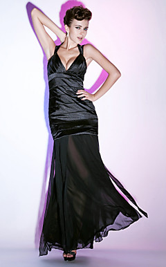 Trumpet/ Mermaid V-neck Floor-length Chiffon Evening Dress