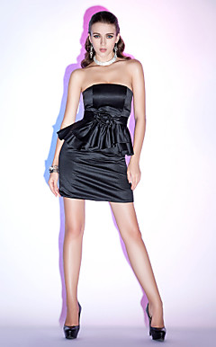 Strapless Sheath/ Column Short/ Mini Satin Cocktail Dress