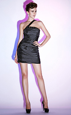 Sheath/Column One Shoulder Short/Mini Sequined Taffeta Tiered Cocktail Dress
