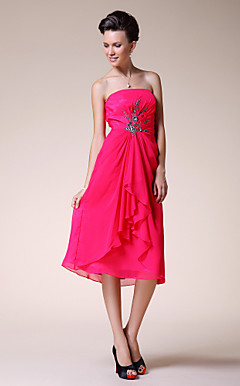 A-line Strapless Knee-length Chiffon Elastic Woven Satin Wedding Party Dress