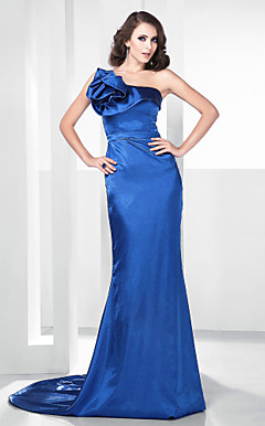 Stretch Satin Trumpet/ Mermaid Sweep Train Evening Dress inspired by Shaun Robinson at the 83rd Oscar