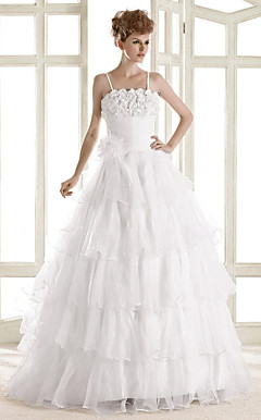 A-line Square Spaghetti Straps Floor-length Organza Wedding Dress
