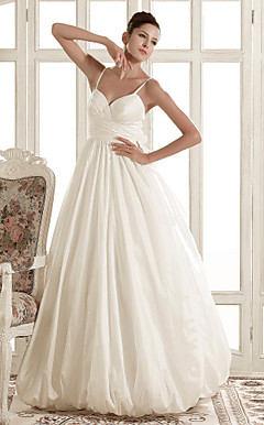 A-line Spaghetti Straps Sweep/Brush Train Taffeta Wedding Dress