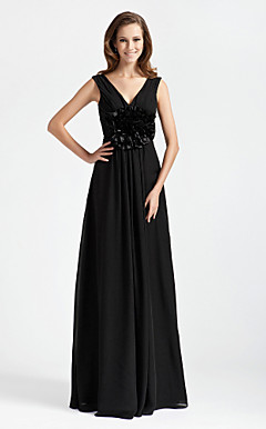 Sheath/ Column V-neck Sleeveless Floor-length Chiffon Bridesmaid Dress