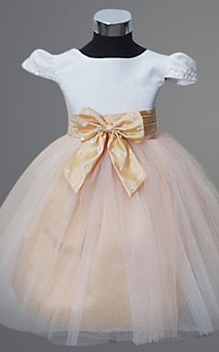 Ball Gown Jewel Knee-length Satin And Tulle Flower Girl Dress