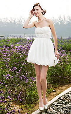 A-line Strapless Short/ Mini Taffeta Wedding Dress
