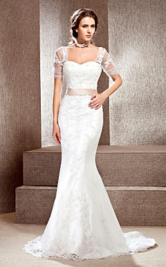 Trumpet / Mermaid Off-the-shoulder Chapel Train Lace Wedding Dress