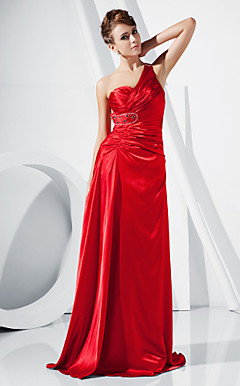 A-line One Shoulder Floor-length Stretch Satin Evening Dress inspired by Grammy Carolyn Malachi