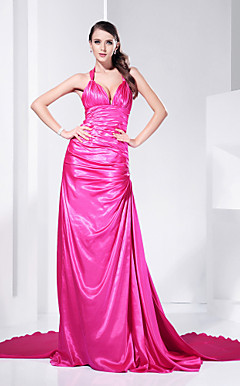 Sheath/Column Halter Court Train Charmeuse Evening Dress