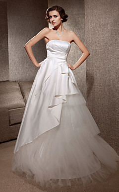 A-line Strapless Sweep/Brush Train Satin Tulle Wedding Dress