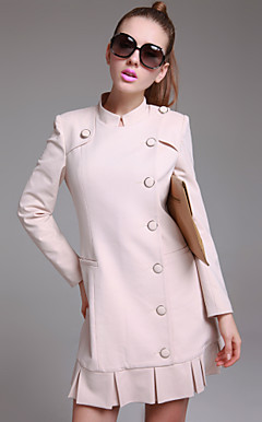 TS Ruffle Trimmed Button Long Coat