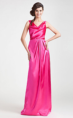 Sheath/ Column Cowl Floor-length Charmeuse Bridesmaid Dress