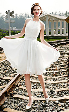 A-line Halter Knee-length Chiffon Wedding Dress