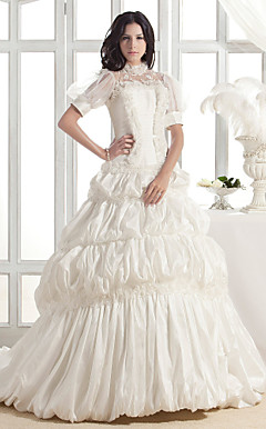 A-line High Neck Court Train Taffeta Wedding Dress