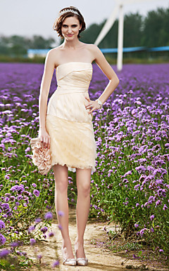 Sheath/Column Strapless Short/Mini Organza Wedding Dress