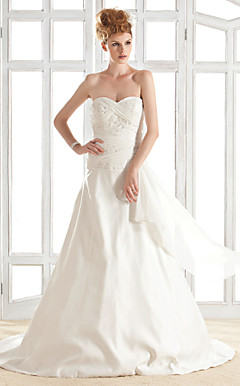 A-line Strapless Sweetheart Court Train Satin Wedding Dress