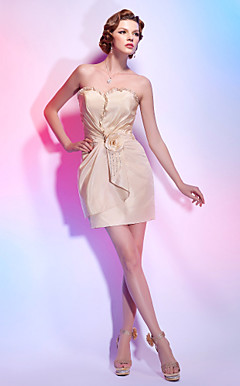 Sweetheart Short/ Mini Taffeta Cocktail Dress With Flower