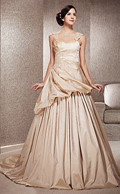 A-line Sweep/Brush Taffeta  Wedding Dress With Straps
